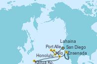 Visitando San Diego (California/EEUU), Honolulu (Hawai), Port Allen, Kauai, Hawaiian, Lahaina  (Hawai), Hilo (Hawai), Kailua Kona (Hawai/EEUU), Ensenada (México), San Diego (California/EEUU)