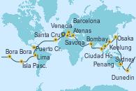 Visitando Barcelona, Málaga, Casablanca (Marruecos), Santa Cruz de Tenerife (España), Bridgetown (Barbados), Cartagena de Indias (Colombia), Puerto Cristóbal (Panamá), Canal Panamá, Manta (Ecuador), Manta (Ecuador), Lima (Callao/Perú), Arica (Chile), San Antonio (Chile), San Antonio (Chile), Isla Pascua (Chile), Isla Pascua (Chile), Islas Pitcairn (Pacífico), Papeete (Tahití), Bora Bora (Polinesia), Rarotonga (Islas Cook), Wellington (Nueva Zelanda), Dunedin (Nueva Zelanda), Hobart (Australia), Melbourne (Australia), Sydney (Australia), Sydney (Australia), Cairns (Australia), Rabaul (Papúa Nueva Guinea), Osaka (Japón), Nagasaki (Japón), Busán (Corea del Sur), Keelung (Taiwán), Hong Kong (China), Hong Kong (China), Da Nang (Vietnam), Ciudad Ho Chi Minh (Vietnam), Singapur, Singapur, Port Klang (Malasia), Penang (Malasia), Colombo (Sri Lanka), Mormugao (India), Bombay (India), Salalah (Omán), Aqaba (Jordania), Atenas (Grecia), Nápoles (Italia), Marsella (Francia), Savona (Italia), Civitavecchia (Roma), Messina (Sicilia), Katakolon (Olimpia/Grecia), Bari (Italia), Venecia (Italia)