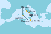 Visitando Savona (Italia), Civitavecchia (Roma), Nápoles (Italia), Palermo (Italia), La Valletta (Malta), Cagliari (Cerdeña), Savona (Italia)