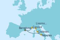 Visitando Barcelona, Nápoles (Italia), Civitavecchia (Roma), Livorno, Pisa y Florencia (Italia), Cannes (Francia), Barcelona