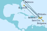 Visitando Baltimore (Maryland), Saint Croix (Islas Vírgenes), Philipsburg (St. Maarten), St. John´s (Antigua y Barbuda), Bridgetown (Barbados), Basseterre (Antillas), Baltimore (Maryland)