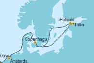 Visitando Dover (Inglaterra), Ámsterdam (Holanda), Tallin (Estonia), Helsinki (Finlandia), Copenhague (Dinamarca)