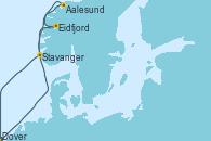 Visitando Dover (Inglaterra), Aalesund (Noruega), Eidfjord (Hardangerfjord/Noruega), Stavanger (Noruega), Dover (Inglaterra)
