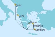 Visitando Atenas (Grecia), Kotor (Montenegro), Corfú (Grecia), Santorini (Grecia), Mykonos (Grecia), Atenas (Grecia)
