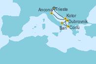 Visitando Trieste (Italia), Ancona (Italia), Dubrovnik (Croacia), Bari (Italia), Corfú (Grecia), Kotor (Montenegro), Trieste (Italia)