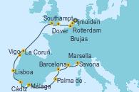 Visitando Ijmuiden (Ámsterdam), Rotterdam (Holanda), Brujas (Bélgica), Dover (Inglaterra), Southampton (Inglaterra), La Coruña (Galicia/España), Vigo (España), Lisboa (Portugal), Cádiz (España), Málaga, Palma de Mallorca (España), Barcelona, Marsella (Francia), Savona (Italia)