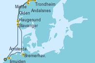 Visitando Ijmuiden (Ámsterdam), Stavanger (Noruega), Trondheim (Noruega), Andalsnes (Noruega), Molde (Noruega), Olden (Noruega), Haugesund (Noruega), Bremerhaven (Alemania), Ámsterdam (Holanda)