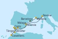 Visitando Barcelona, Cádiz (España), Tánger (Marruecos), Casablanca (Marruecos), Gibraltar (Inglaterra), Málaga, Valencia, Savona (Italia), Marsella (Francia), Barcelona