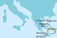 Visitando Atenas (Grecia), Limassol (Chipre), Rodas (Grecia), Heraklion (Creta), Santorini (Grecia), Mykonos (Grecia), Atenas (Grecia)