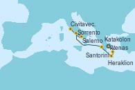 Visitando Atenas (Grecia), Santorini (Grecia), Heraklion (Creta), Katakolon (Olimpia/Grecia), Sorrento (Nápoles/Italia), Salerno (Italia), Civitavecchia (Roma)
