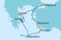 Visitando Atenas (Grecia), Heraklion (Creta), Rodas (Grecia), Kusadasi (Efeso/Turquía), Estambul (Turquía), Estambul (Turquía), Volos (Grecia), Atenas (Grecia)
