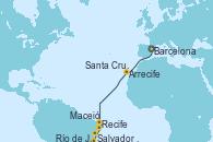 Visitando Barcelona, Arrecife (Lanzarote/España), Santa Cruz de Tenerife (España), Recife (Brasil), Maceió (Brasil), Salvador de Bahía (Brasil), Río de Janeiro (Brasil)