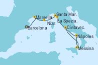Visitando Barcelona, Marsella (Francia), Niza (Francia), Santa Margarita (Italia), La Spezia, Florencia y Pisa (Italia), La Spezia, Florencia y Pisa (Italia), Messina (Sicilia), Nápoles (Italia), Civitavecchia (Roma)