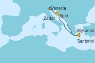 Visitando Ravenna (Italia), Zadar (Croacia), Mykonos (Grecia), Santorini (Grecia), Split (Croacia), Ravenna (Italia)