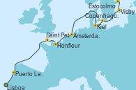 Visitando Lisboa (Portugal), Puerto Leixões (Portugal), Saint Peter´s Port (Reino Unido), Honfleur (Francia), Ámsterdam (Holanda), Ámsterdam (Holanda), Kiel (Alemania), Copenhague (Dinamarca), Visby (Suecia), Estocolmo (Suecia)