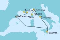 Visitando Barcelona, Niza (Francia), Toulon (Francia), Ajaccio (Córcega), Portofino (Italia), Civitavecchia (Roma), Palermo (Italia), Barcelona