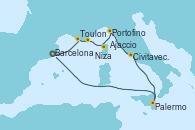 Visitando Barcelona, Toulon (Francia), Niza (Francia), Ajaccio (Córcega), Portofino (Italia), Civitavecchia (Roma), Palermo (Italia), Barcelona