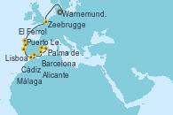 Visitando Warnemunde (Alemania), Zeebrugge (Bruselas), El Ferrol (Galicia/España), Puerto Leixões (Portugal), Lisboa (Portugal), Lisboa (Portugal), Cádiz (España), Málaga, Alicante (España), Palma de Mallorca (España), Barcelona