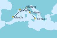 Visitando Génova (Italia), Valencia, Marsella (Francia), Génova (Italia), Civitavecchia (Roma), Palermo (Italia)