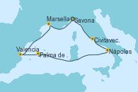 Visitando Savona (Italia), Civitavecchia (Roma), Nápoles (Italia), Palma de Mallorca (España), Valencia, Marsella (Francia), Savona (Italia)