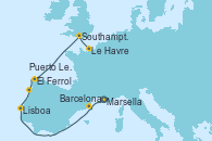 Visitando Marsella (Francia), Barcelona, Lisboa (Portugal), Puerto Leixões (Portugal), El Ferrol (Galicia/España), Southampton (Inglaterra), Le Havre (Francia)