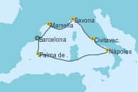Visitando Barcelona, Marsella (Francia), Savona (Italia), Civitavecchia (Roma), Nápoles (Italia), Palma de Mallorca (España), Barcelona