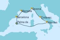 Visitando Palma de Mallorca (España), Barcelona, Marsella (Francia), Savona (Italia), Civitavecchia (Roma), Nápoles (Italia), Palma de Mallorca (España)