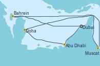 Visitando Dubai, Abu Dhabi (Emiratos Árabes Unidos), Abu Dhabi (Emiratos Árabes Unidos), Doha (Catar), Muscat (Omán), Muscat (Omán), Bahrein (Emiratos Árabes Unidos), Dubai, Dubai, Dubai