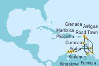 Visitando Pointe a Pitre (Guadalupe), Road Town (Isla Tórtola/Islas Vírgenes), Philipsburg (St. Maarten), Antigua (Antillas), Kingstown (Granadinas), Martinica (Antillas), Pointe a Pitre (Guadalupe), Kralendijk (Antillas), Aruba (Antillas), Curacao (Antillas), Grenada (Antillas), Martinica (Antillas), Pointe a Pitre (Guadalupe)