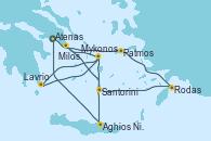 Visitando Atenas (Grecia), Patmos (Grecia), Rodas (Grecia), Santorini (Grecia), Lavrio (Grecia), Mykonos (Grecia), Mykonos (Grecia), Milos (Grecia), Aghios Nikolaos (Grecia), Atenas (Grecia)