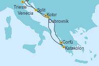 Visitando Trieste (Italia), Venecia (Italia), Split (Croacia), Kotor (Montenegro), Katakolon (Olimpia/Grecia), Corfú (Grecia), Dubrovnik (Croacia), Trieste (Italia)
