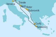 Visitando Trieste (Italia), Venecia (Italia), Dubrovnik (Croacia), Kotor (Montenegro), Katakolon (Olimpia/Grecia), Corfú (Grecia), Split (Croacia), Trieste (Italia)