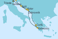 Visitando Venecia (Italia), Split (Croacia), Kotor (Montenegro), Katakolon (Olimpia/Grecia), Corfú (Grecia), Dubrovnik (Croacia), Trieste (Italia), Venecia (Italia)