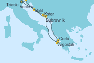 Visitando Venecia (Italia), Split (Croacia), Kotor (Montenegro), Argostoli (Grecia), Corfú (Grecia), Dubrovnik (Croacia), Trieste (Italia), Venecia (Italia)