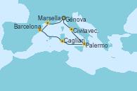 Visitando Génova (Italia), Marsella (Francia), Barcelona, Cagliari (Cerdeña), Palermo (Italia), Civitavecchia (Roma), Génova (Italia)