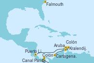 Visitando Colón (Panamá), Cartagena de Indias (Colombia), Kralendijk (Antillas), Aruba (Antillas), Colón, Puerto Limón (Costa Rica), Canal Panamá, Falmouth (Gran Bretaña)