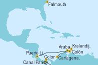 Visitando Colón (Panamá), Cartagena de Indias (Colombia), Colón, Aruba (Antillas), Kralendijk (Antillas), Puerto Limón (Costa Rica), Canal Panamá, Falmouth (Gran Bretaña)