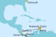 Visitando Colón (Panamá), Aruba (Antillas), Colón, Kralendijk (Antillas), Puerto Limón (Costa Rica), Canal Panamá, Falmouth (Gran Bretaña)