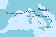 Visitando Ravenna (Italia), Ravenna (Italia), Messina (Sicilia), Civitavecchia (Roma), Livorno, Pisa y Florencia (Italia), Cannes (Francia), Barcelona