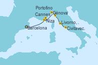 Visitando Barcelona, Cannes (Francia), Niza (Francia), Génova (Italia), Portofino (Italia), Livorno, Pisa y Florencia (Italia), Civitavecchia (Roma)