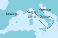 Visitando Ravenna (Italia), Ravenna (Italia), Civitavecchia (Roma), Livorno, Pisa y Florencia (Italia), Cannes (Francia), Barcelona