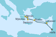 Visitando Haifa (Israel), Limassol (Chipre), Rodas (Grecia), Atenas (Grecia), Santorini (Grecia), Mykonos (Grecia), Haifa (Israel)