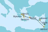 Visitando Haifa (Israel), Limassol (Chipre), Rodas (Grecia), Atenas (Grecia), Santorini (Grecia), Mykonos (Grecia), Ashdod (Israel), Haifa (Israel)