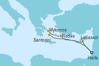 Visitando Haifa (Israel), Limassol (Chipre), Rodas (Grecia), Mykonos (Grecia), Santorini (Grecia), Haifa (Israel)