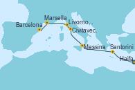 Visitando Haifa (Israel), Santorini (Grecia), Messina (Sicilia), Civitavecchia (Roma), Livorno, Pisa y Florencia (Italia), Marsella (Francia), Barcelona