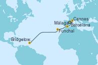 Visitando Barcelona, Cannes (Francia), Málaga, Funchal (Madeira), Bridgetown (Barbados)