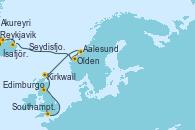 Visitando Reykjavik (Islandia), Ísafjörður (Islandia), Akureyri (Islandia), Seydisfjordur (Islandia), Olden (Noruega), Aalesund (Noruega), Kirkwall (Escocia), Edimburgo (Escocia), Southampton (Inglaterra)