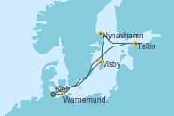 Visitando Kiel (Alemania), Visby (Suecia), Nynashamn (Suecia), Tallin (Estonia), Warnemunde (Alemania), Kiel (Alemania)