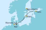 Visitando Warnemunde (Alemania), Kiel (Alemania), Visby (Suecia), Nynashamn (Suecia), Tallin (Estonia), Warnemunde (Alemania)