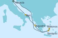 Visitando Venecia (Italia), Mykonos (Grecia), Mykonos (Grecia), Santorini (Grecia), Argostoli (Grecia), Bari (Italia), Venecia (Italia)